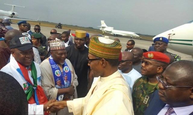 Olorogun O'tega Emerhor, Leader, Mainstream Delta APC Welcoming President Muhammadu Buhari to Delta State during the APC 2019 Presidential Campaign in Warri, Delta State