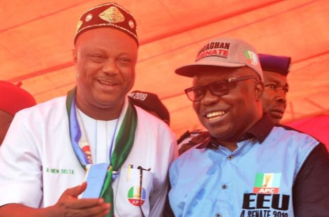 Right-Left: Delta South APC Senatorial Candidate, Dr. Emmanuel Eweta Uduaghan and Delta State APC Gubernatorial Candidate Chief Great Ovedje Ogboru at a Rally