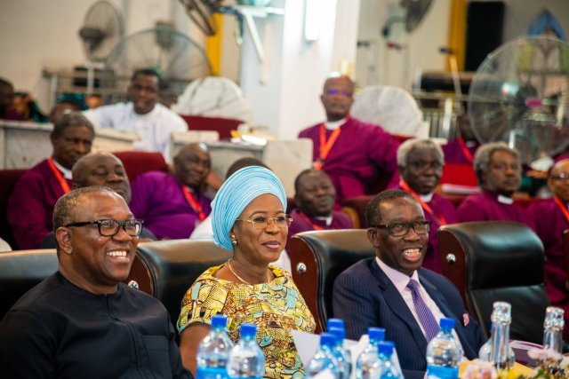 (R-L) Delta State Governor, Senator Ifeanyi Okowa; his wife, Dame Edith; PDP Presidential Candidate, Peter Obi during the Church of Nigeria Standing Committee Meeting of the Anglican Communion, held in Warri Delta State.