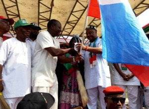 APC governorship candidate in Delta State, Chief Great Ogboru on Thursday, presented the party's flag to Rev. Francis Ejiroghene Waive, as the party's candidate for House of Representatives candidate for Ughelli North, South and Udu Federal Constituency at Otu-Jeremi stadium in Ughelli South LGA.