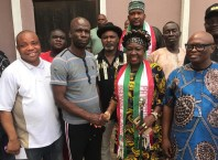 Hon Pat Ajudua, Member Representing Oshimili North Constituency and Chief Whip of the House in handshake with Delta State Chairman, Coalition of United Political Parties, CUPP and Senior Special Assistant to the Governor on Inter Parties Relations, Chief Josiah Efetobor flanked by other political parties Chairmen after her endorsement as the sloe candidate for Oshimili North Constituency seat in coming Saturday's election.