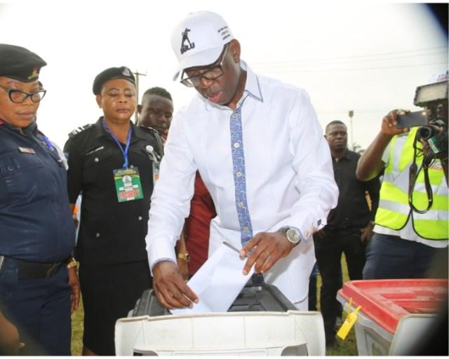 Governor Okowa Casting His Vote