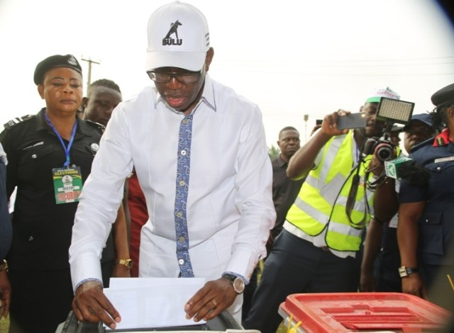 Delta State Governor, Senator Ifeanyi Okowa, casting his vote during the Governorship and State House of Assembly elections at Ward 2 Unit 3, Owa-Alero in Ika North East LGA.