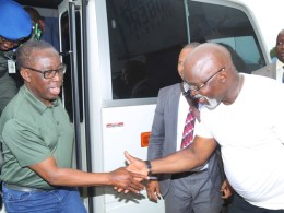 Delta State Governor, Senator Ifeanyi Okowa (left); President Nigeria Football Federation, Mr. Amaju Pinnick, during the Inspection of Super Eagle Training Camp, at Stephen Keshi Stadium, Asaba.