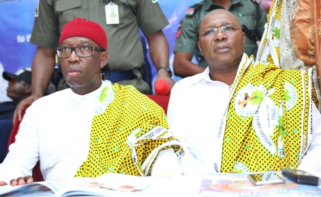 Delta State Governor, Senator Ifeanyi Okowa (left) and Deputy Governor of Delta State, Barr. Kingsley Otuaro