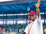 Delta State Governor, Senator Ifeanyi Okowa, after taking Oath of Office, during the Inauguration Ceremony of his Second Tenure, at Stephen Keshi Stadium, Asaba Delta State