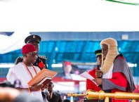 Governor Ifeanyi Okowa During the Administration of Oath of Office for His Second Term