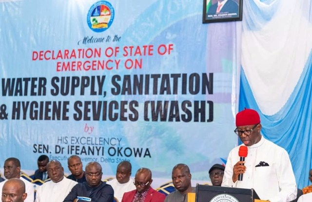 Delta State Governor, Senator Ifeanyi Okowa during the decleration of State of Emergency on Water Supply, Sanitation and Hygiene Services (WASH) in Delta State.