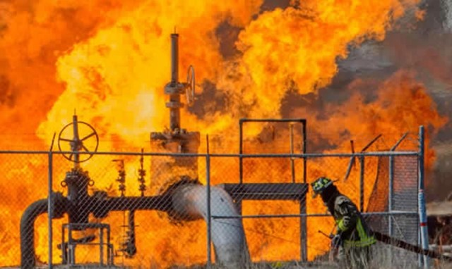 Illustration Photo: Oil Pipeline on Fire