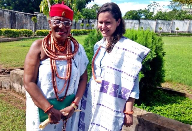 HRM Obi Martha Dunkwu, Omu Anioma with Cecile Collin, EU's Team Leader.