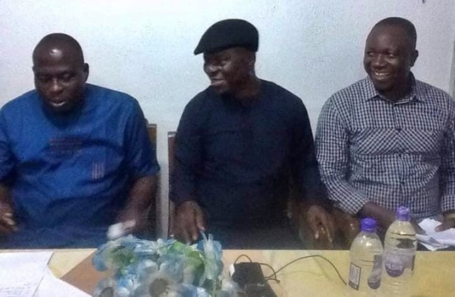 The new IAN Chairman, Chief John Paul Odhomor (middle), Vice Chairman, Chief Dickson Ebegbar (right) and Secretary, Hon Oghale Ofremu (left) after been sworn during their meeting in Oleh, Isoko South Local Area.