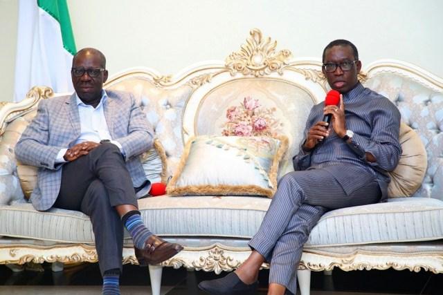 Delta state Governor, Senator Ifeanyi Okowa (right) and the Governor of Edo State, Godwin Obaseki, during the visit of Governor Obaseki, in Government House Asaba, Delta State.