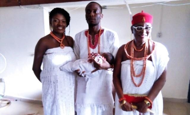 R-L: Omu Anioma, HRM Obi Martha Dunkwu, Mr. Afamefuna Nnebuisi Dunkwu-Okafor, and Wife