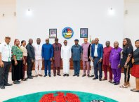 Delta State Governor, Senator Ifeanyi Okowa (middle) flanked during a courtesy call on the Governor, by the President of Nigeria Labour Congress, in Government House Asaba.