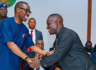 Delta State Governor, Dr. Ifeanyi Okowa Congratulating Hon Daniel Yingi after being Sworn-in as Special Adviser