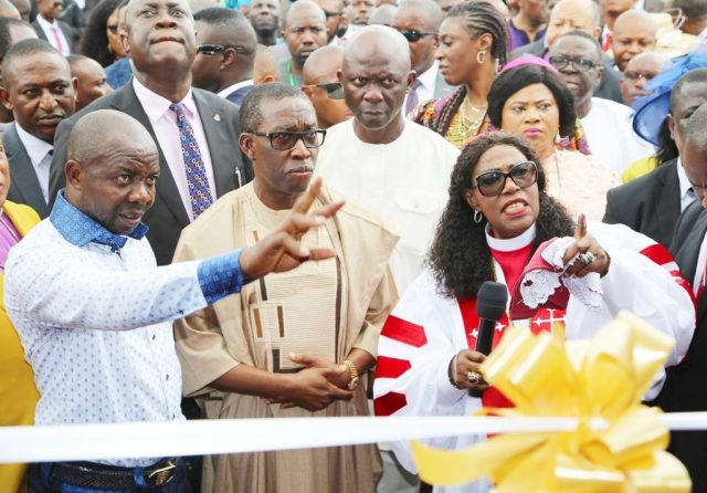 Delta State Governor, Senator Ifeanyi Okowa (2nd left); Bishop Margaret Idahosa (right); Hon. Victor Nwokolo (2nd right) and Mr. Ifeanyi Nwachukwu (Ifybros), during the Commissioning of Prayer Tower Building and Water Project by the Governor, at Balm of Gilead, Church of God Mission Benin City.
