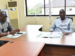 Chairman, Warri, Uvwie and Environs Special Area Development Agency (WUEDA) Dr. Joseph Otumara (right) and the Director General WUEDA, Chief Ovuozourie Macaulay during their inaugural meeting in Government House Annex, Warri.