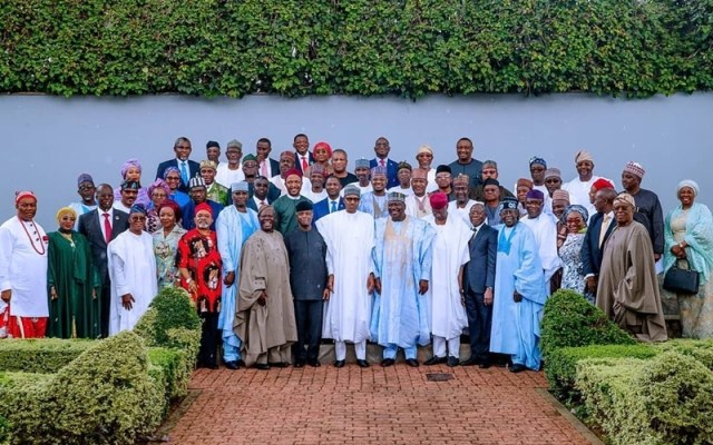 President Buhari flanked by the Newly Sworn In Ministers, Others