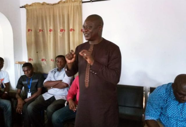 Hon Ferguson Onwo addressing the Beneficiaries at his Constituency Office