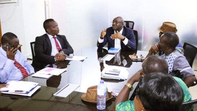 Chief Patrick Ukah, Delta State Commissioner for Basic and Secondary Education (center), meeting with leaders of the National Association of Proprietors of Private Schools (NAPPS), Delta State chapter
