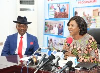 Dame Edith Okowa addressing Journalists flanked by Commissioner for Information, Mr Charles Aniagwu