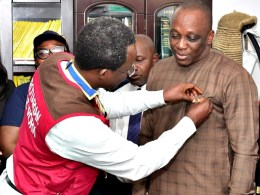 Delta Attorney-General, Barr Peter Mrakpor being decorated with Honorary Membership of Rotary Club International