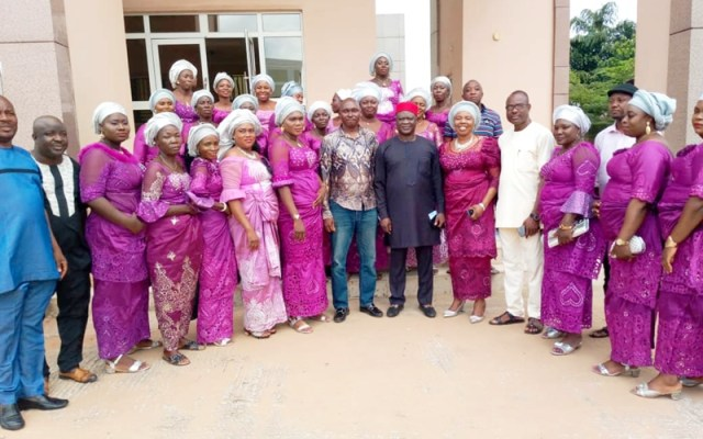 Hon Ferguson Onwo (middle) flanked by Olomoro Gallant Women Association during a courtesy call on him at the State House of Assembly