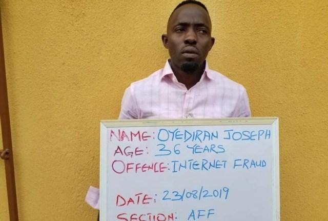 Oyediran Joseph, FBI Suspect Convicted by EFCC for Internet Fraud