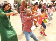 Wife of Delta Governor and founder O5 Initiative, Dame Edith Okowa in a dancing competition during the 2019 Christmas Party organized for Delta Children