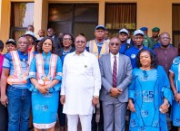Delta Deputy Governor, Barr Kingsley Otuaro (Center), Delta First Lady, Dame Edith Okowa (3rd Left), Delta Chief Judge, Justice Marshal Umukoro (3rd Right), Delta Attorney General, Barr Peter Mrakpor (2nd Left), Delta Commissioner for Women Affairs, Mrs Flora Alatan (2nd Right), Others at the One-Day Sexual and Gender Based Violence Stakeholders Conference held in Government House, Asaba on December 2, 2019