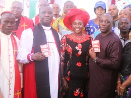 Chairman of the Delta State Taskforce on Human Trafficking and Irregular Migration, Mr. Peter Mrakpor (2nd right), Rt. Revd. Dr. Promise Dibie, Diocesan Bishop of Greater Light Diocese and his wife Bishop Mrs. Eucharia Dibie JP (middle), Dr. Mrs. Genevieve Mordi, SSA to the Delta State Governor on Int'l Relations with other officiating ministers and members of the Taskforce during a sensitization Campaign by the Taskforce to Agbor, Ika South Local Government Area