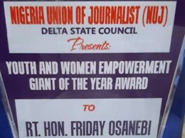 NUJ Award to Friday Osanebi