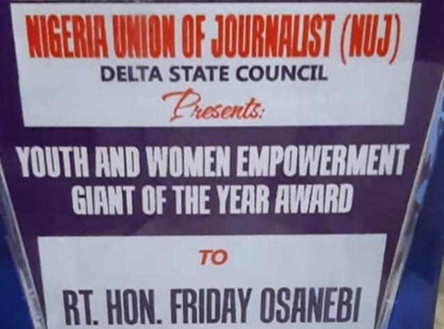 NUJ Award to Friday Osanebi