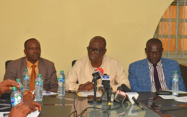 The Director General, Warri, Uvwie and Environs Special Area Development Agency (WUEDA), Comrade (Chief) Ovuozourie Macaulay (middle), Director Administration, Mr John Ewuba (left) and Director Projects, Engr. Bemigho Ofoeyeno during the maiden Press Briefing of the Agency in Warri.