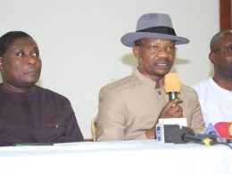 Delta State Commissioner for Information, Mr Charles Aniagwu (middle), addressing Journalists shortly after the State weekly EXCO meeting held in Government House Asaba. With him are the Commissioners for Works, Chief James Augoye (left), and his Youth Development counterpart, Mr Ifeanyi Egwunyenga (right) on Tuesday, January 21, 2020.