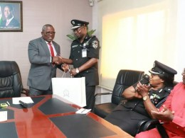 Speaker, Delta Assembly, Rt Hon. Sheriff Oborevwori and Delta Commissioner of Police, Hafiz Inuwa during a courtesy visit by the Police Command