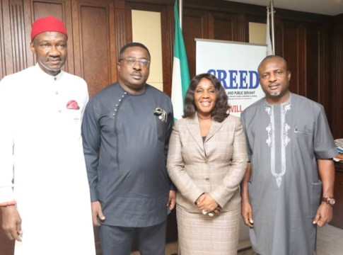 National Vice Chairman, South-South of the All Progressive Congress (APC) Hon. Hillard Eta (2nd left), NDDC's Acting MD, Joi Nunieh (2nd right), Executive Director of Projects, Dr. Cairo Ojougboh (left) and Executive Director Finance and Administration, Chief Bassey Etang (right).