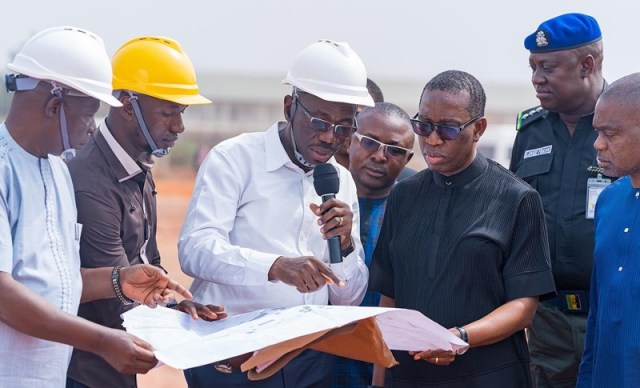 Delta State Governor, Senator Dr. Ifeanyi Okowa (right), Comm. for Housing, Chief Festus Ochonogor, (left) and Architect Kester Ifeadi during the inspection of the on going construction of the FRSC Inspectorate Training School in Ika North East LGA