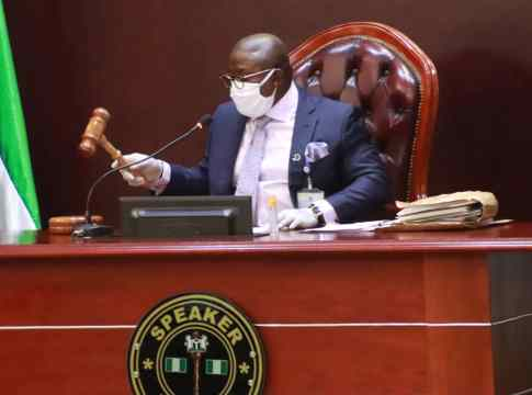 Delta Assembly Speaker, Rt. Hon. Sheriff Oborevwori at the first Post Covid Sitting of the House