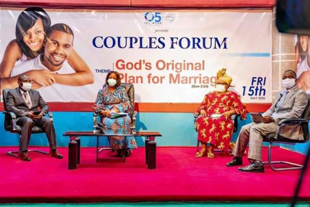 Dame Edith Okowa (2nd left), Pastor David Popoola of Living Faith Church, Asaba, Pastor Olutomi Sodeinde of Redeemed Christian Church of God, Asaba and Dr (Mrs) Augusta Ogbene, Coordinator of Christian Women Intercessors for All Nations (CWIFAN) at 2020 edition of Couples' Forum