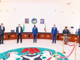 Delta State Governor, Senator Ifeanyi Okowa (3rdleft), Deputy Governor, Barr. Kingsley Otuaro (2ndleft), State Chief Judge, Justice Marshall Umukoro, (3rdright), President, Customary court of Appeal, Justice Stella Ogene (2ndright), and some newly sworn-in judges: Emmanuel Dolor (left), andIghoverioAruoriwo after the ceremony in Government House, Asaba on Monday,May 11, 202