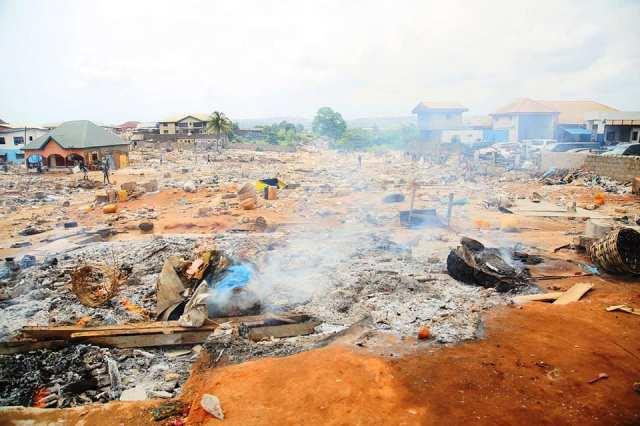Ruins of the demolished popular Abraka Market in Asaba