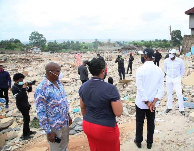 Governor Okowa inspects the demolished popular Abraka Market in Asaba
