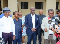 Delta Commissioner for Health, Dr.MordiOnonye(right) speaking as Other Government Officials look on after an Inspection tour of the Isolation and Treatment Centre at Asaba Specialist Hospital in preparation against the COVID-19 pandemic on Monday, March 23, 2020 (Pics: DTGH Press Unit)
