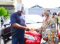 A recipient of the Car Gift Presented by Delta Speaker, Sheriff Oborevwori to Okpe Political Leaders