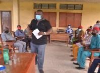 Delta Deputy Speaker, Rt. Hon Ochor Christopher Ochor addressing Representatives of Obiaruku Communities