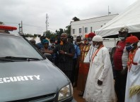 Aniocha North Council Boss, Hon Chuks Oseme Speaking During the Presentation of the Operational Vehicle to the Joint Vigilante Team
