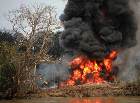 Burning of Illegal Refinery in Niger Delta which leads to Air and Water Pollution