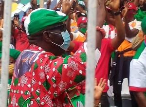 Governor Godwin Obaseki during the Edo PDP Mega Rally held at Samuel Ogbemudia Stadium