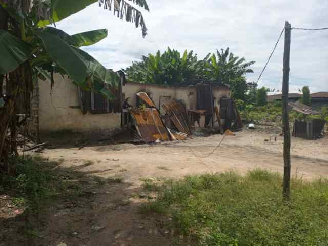 Destroyed properties in Evwreni Community by suspected Ex-vigilantes